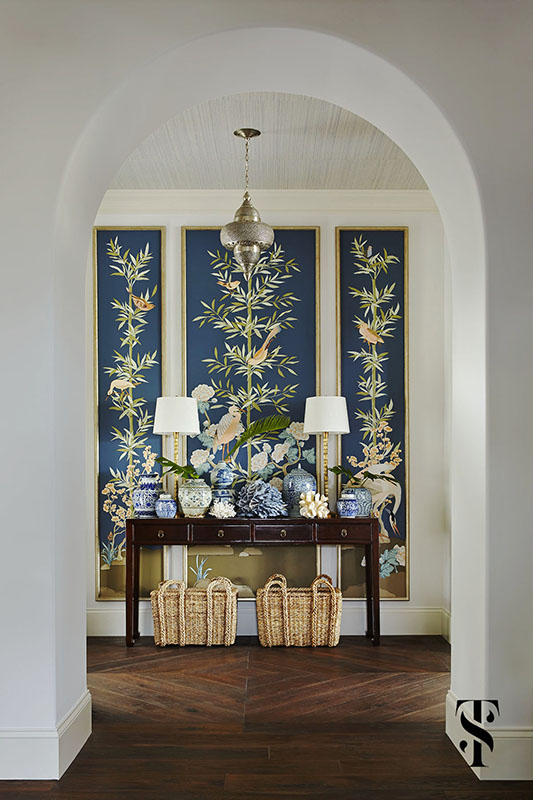 Naples Florida Interior Design & Architecture by Summer Thornton - entryway foyer with hand painted foliage and bird panels by Alison Cosmos with blue coral and Chinese ginger jars - www.summerthorntondesign.com