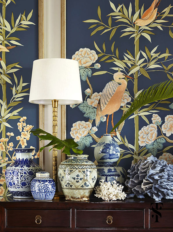 Naples Florida Interior Design by Summer Thornton - entryway foyer with hand painted foliage and bird panels by Alison Cosmos with blue coral and Chinese ginger jars - www.summerthorntondesign.com