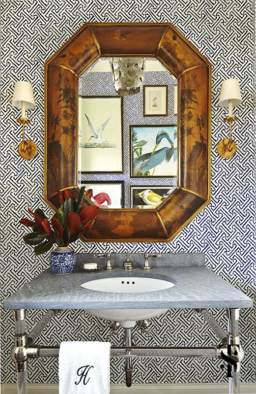 Naples Florida Interior Design by Summer Thornton - powder room with Quadrille Java Java wallpaper in navy and audubon bird prints - www.summerthorntondesign.com