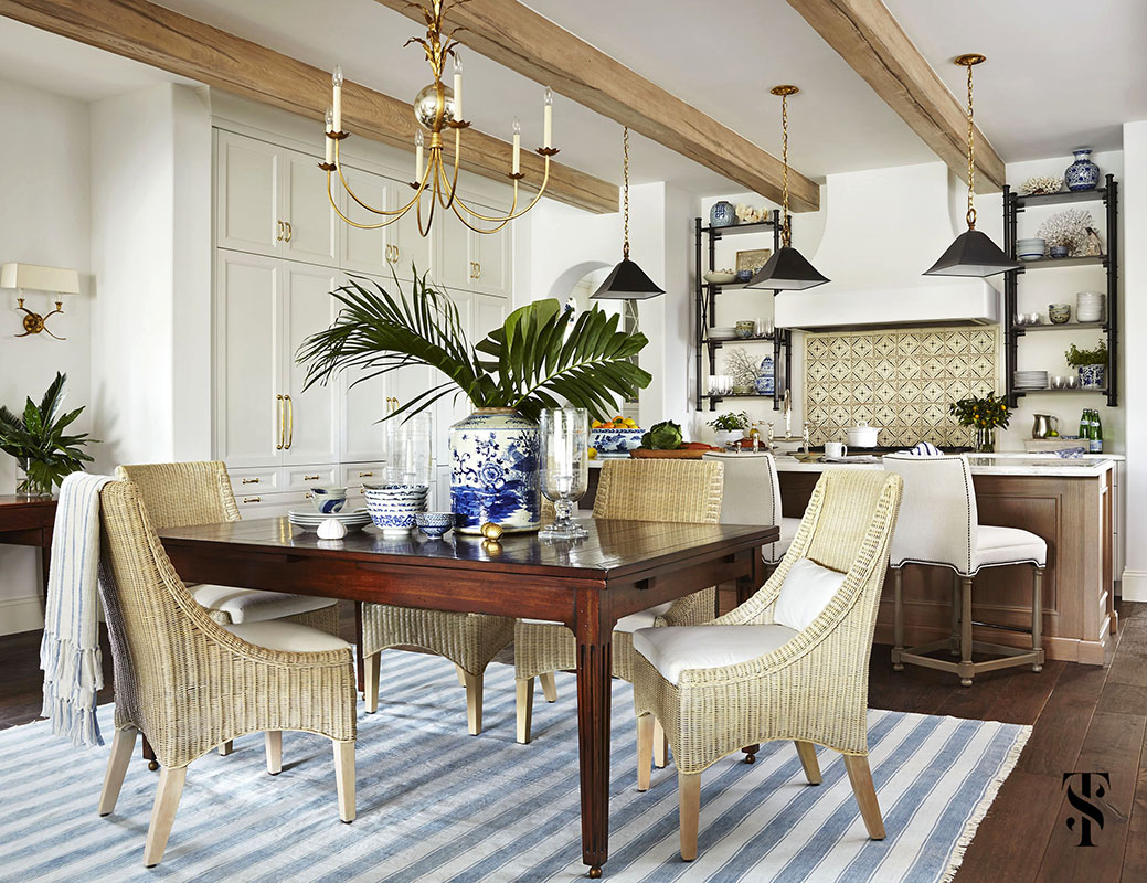Naples Florida Kitchen Designer Summer Thornton - dining room and kitchen in Miromar lakes with wood beam ceiling - www.summerthorntondesign.com