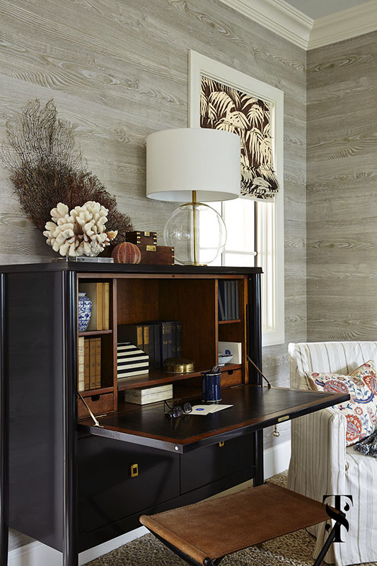 Naples Florida Interior Design by Summer Thornton - mens desk and stationary writing area with noblis faux bois walls - www.summerthorntondesign.com