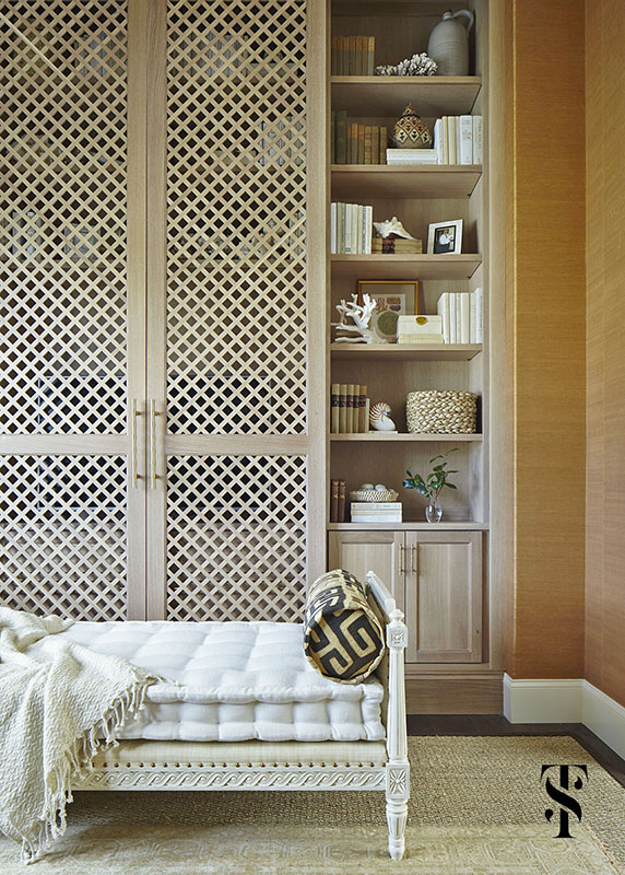 Naples Interior Designer Summer Thornton - den with media cabinet concealing television with day bed and grasscloth walls - www.summerthorntondesign.com