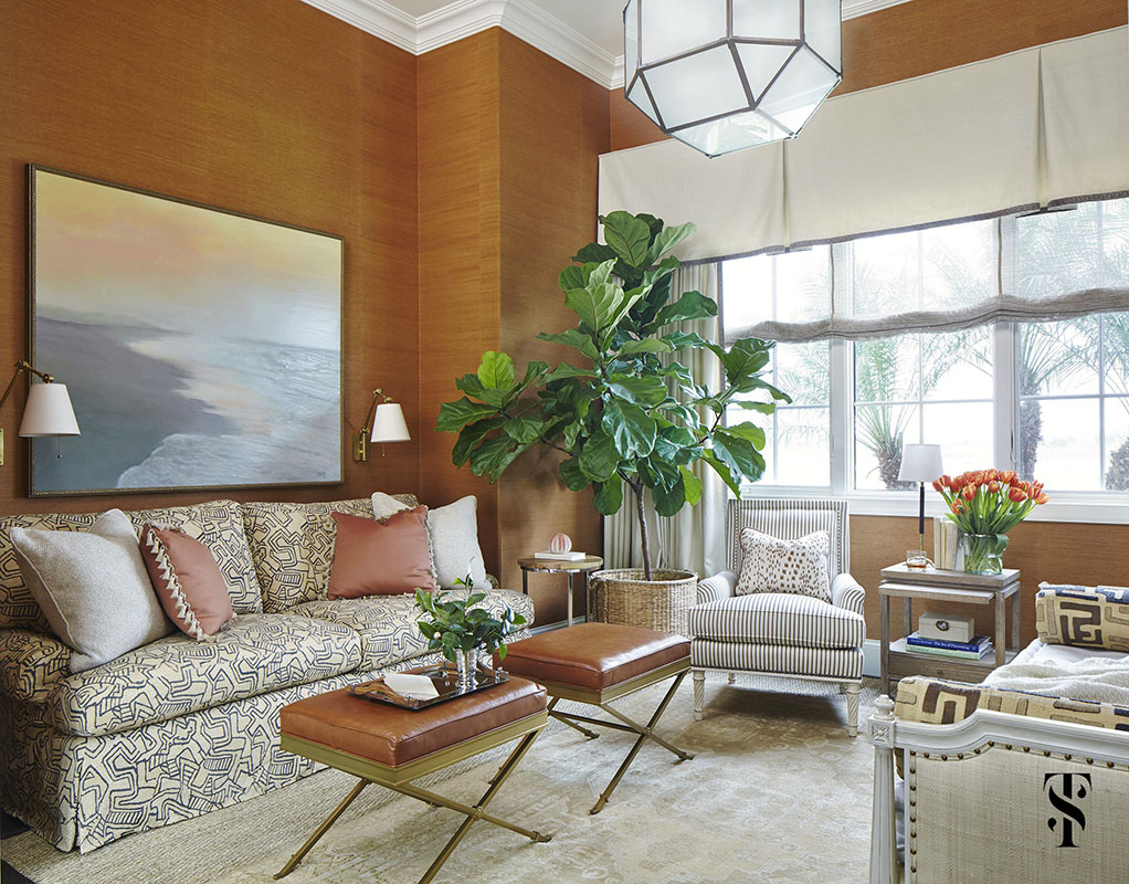 Naples Interior Design - interior designer Summer Thornton - den with grasscloth walls, circa fixture, and attractive fold-out sofa by crate & barrel covered in Allen Campbel fabric- www.summerthorntondesign.com