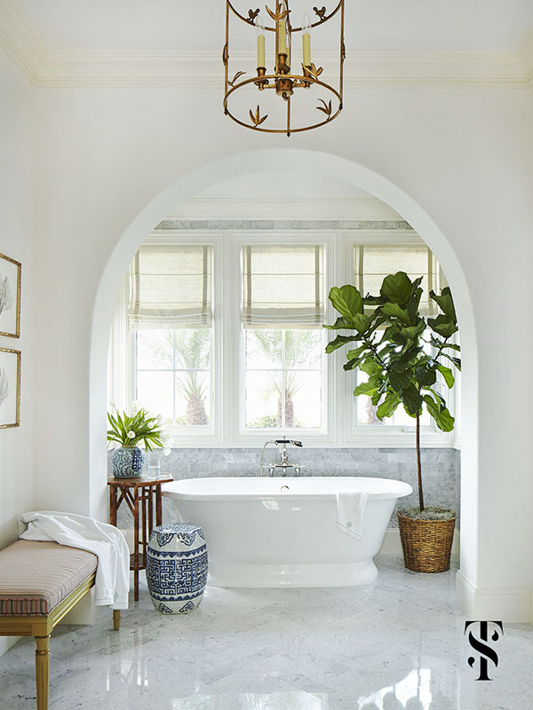 Naples Florida Interior Design by Summer Thornton   free standing tub with marble bath & fiddle leaf fig tree   www.summerthorntondesign.com