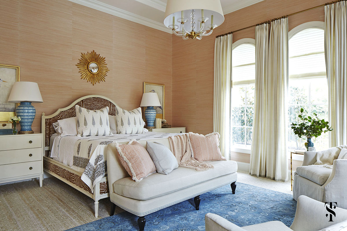 bedroom with coral pink grasscloth walls and zebra print headboard |Naples, Florida | Interior Design by Summer Thornton | www.summerthorntondesign.com