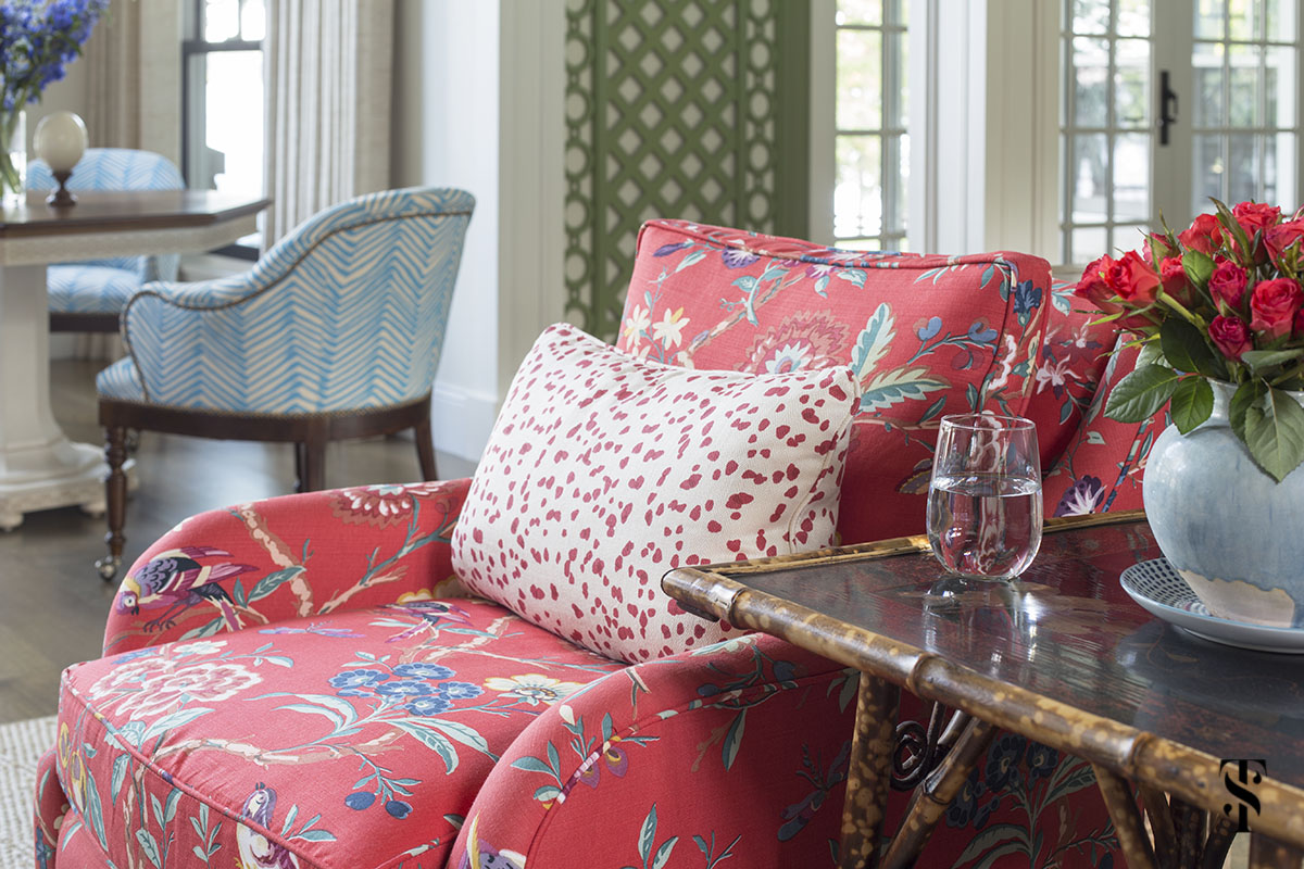wisconsin lake house interior design by summer thornton with brunschwig & fils fabric on hickory chair. www.summerthorntondesign.com