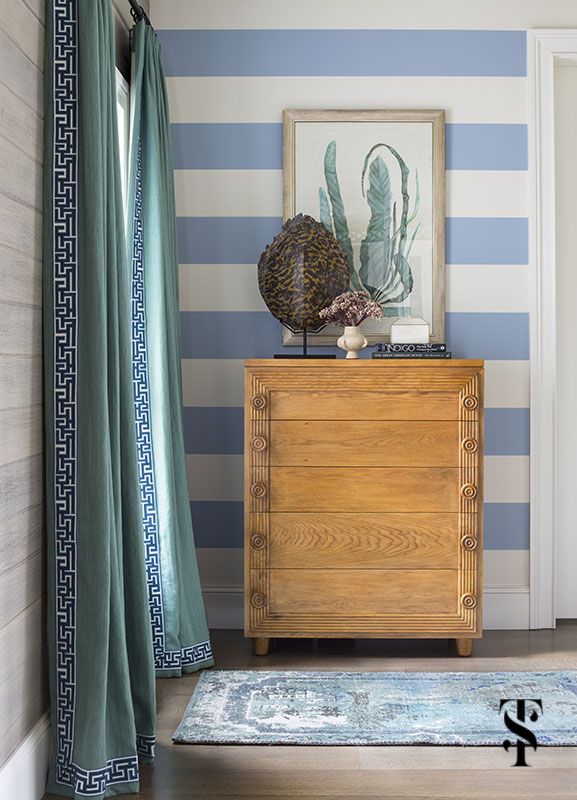 lake house with blue and white striped walls, greek key tape trim, and tortoise shell; interior design by summer thornton www.summerthorntondesign.com