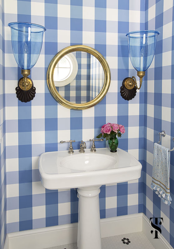 blue and white gingham powder room bathroom; interior design by summer thornton www.summerthorntondesign.com