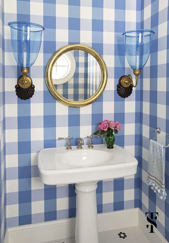 blue and white gingham powder room bathroom; interior design by summer thornton www.summerthorntondesign.com
