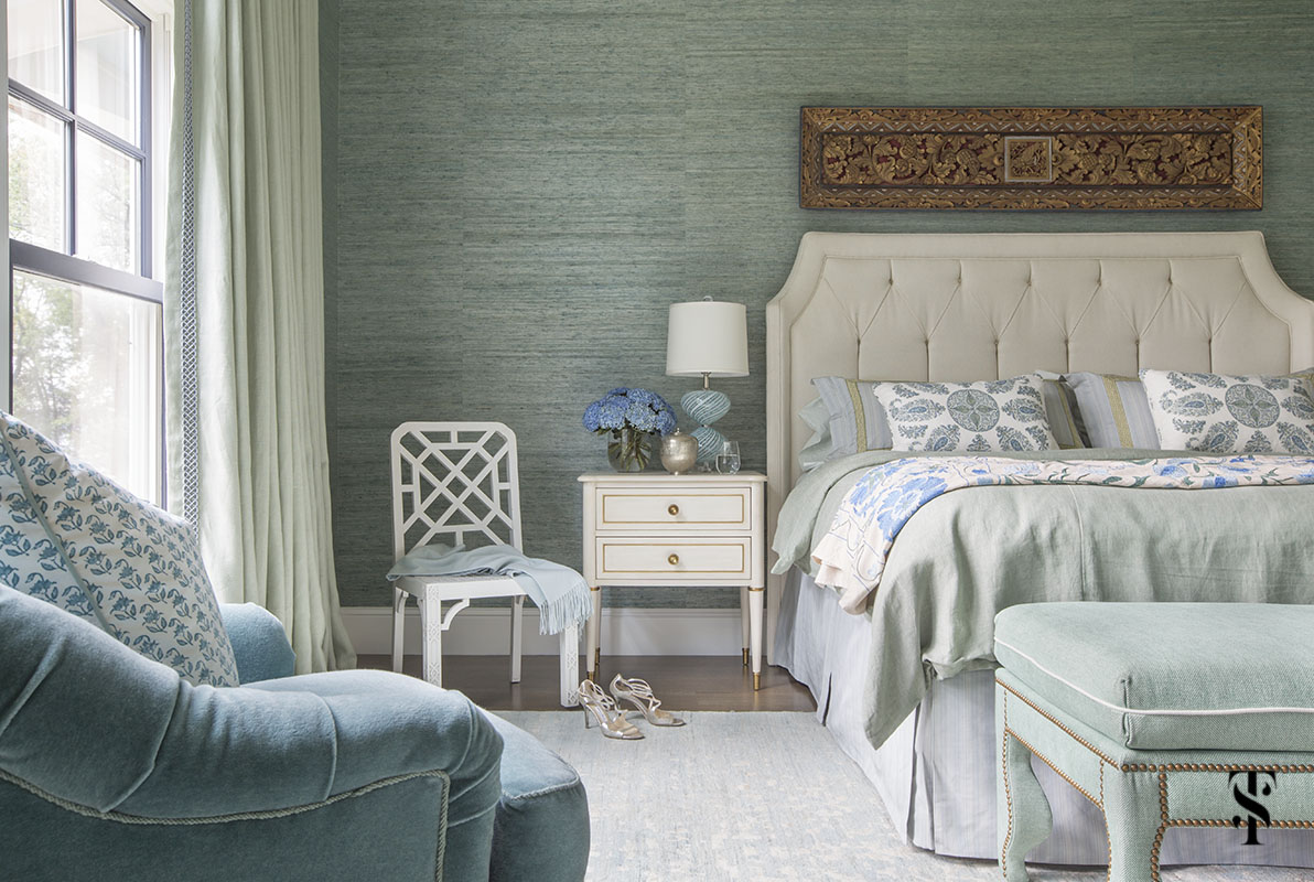green grasscloth walls and white tufted headboard; interior design by summer thornton www.summerthorntondesign.com