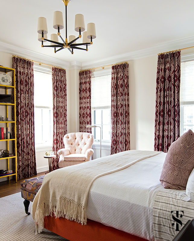 Summer Thornton decorated this masculine bedroom in a Chicago Co-Op at 1500 Lake Shore Drive.