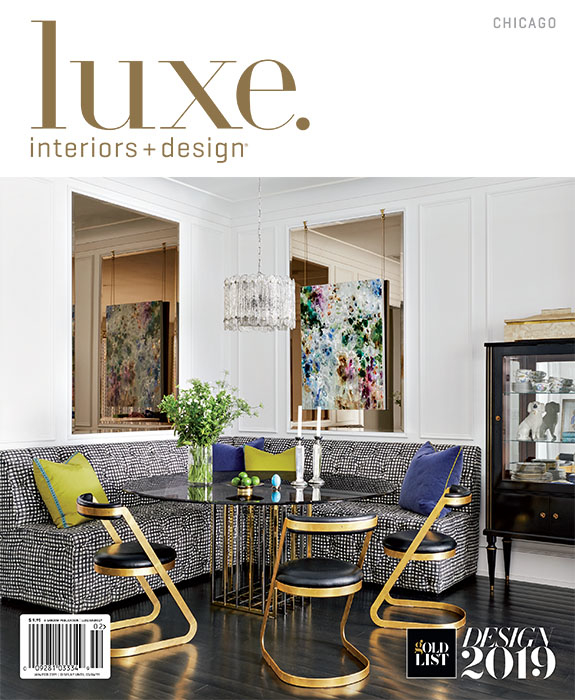 Luxe Interiors & Design January February 2019 Magazine cover with Summer Thornton project in Chicago