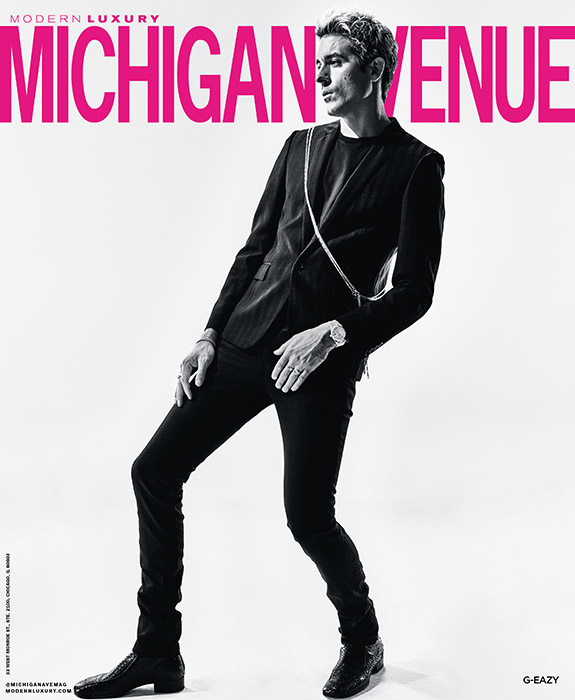 Michigan Avenue Magazine December 2018 cover with G-Eazy featuring Summer Thornton Design project at 1500 lake shore drive co-op