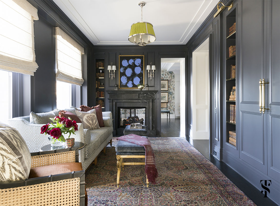 ink painted den / television room with interior design by Summer Thornton in Chicago's palmolive building. For more photos visit www.SummerThorntonDesign.com