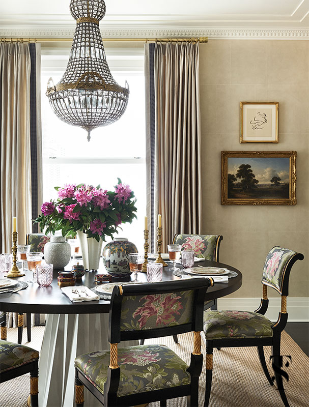 Block paper walls and an elegant dining room in a Chicago Home remodel by Summer Thornton. For more information & photos visit www.SummerThorntonDesign.com