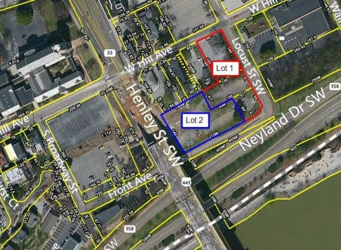 Aerial map, 608 hill ave., Knoxville, TN