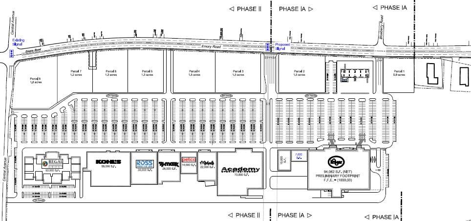 Original site plan for the new Kroger shopping center in Powell