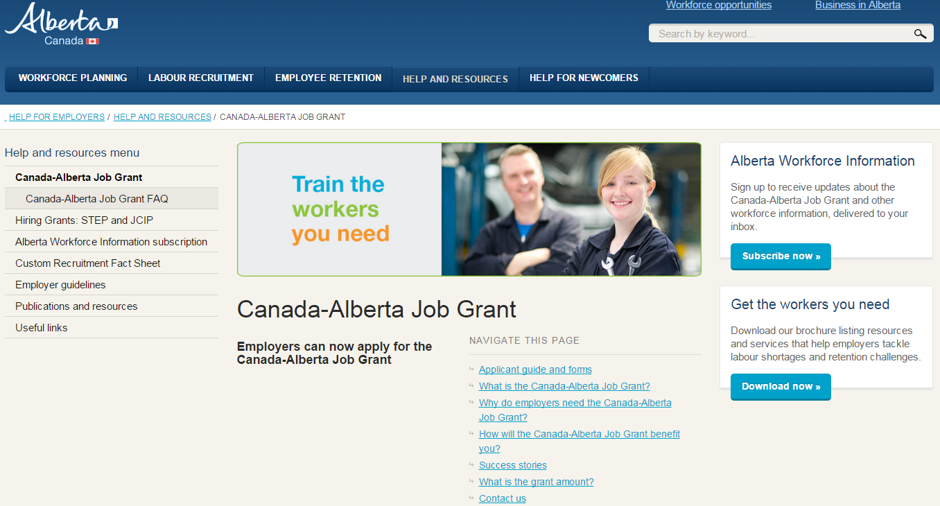 Alberta Grant Subsidizes 66% of Training Program