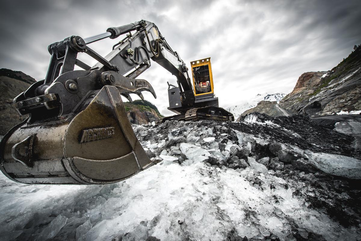 Excavator on ice
