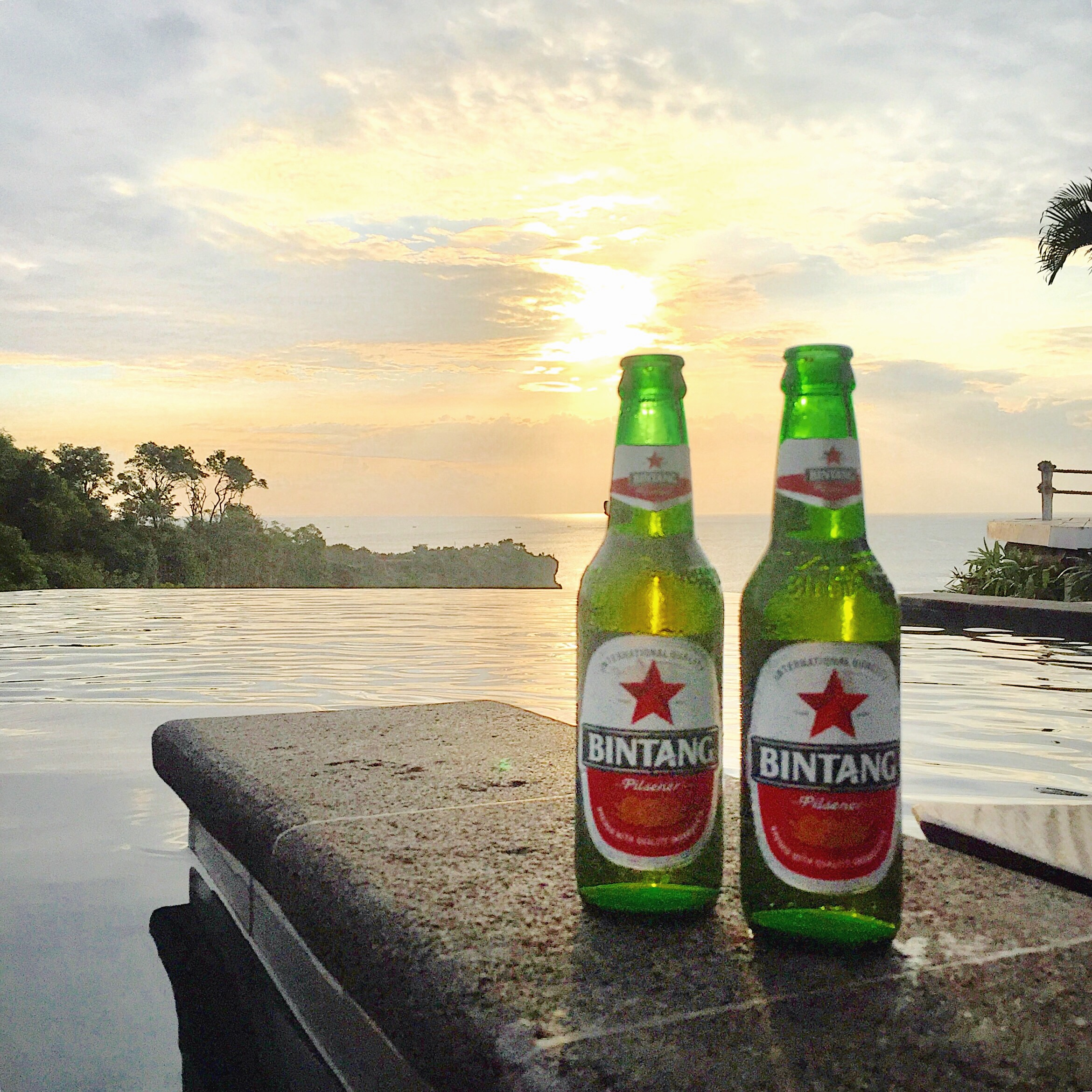 Drinking Bintang beer during sunset in Bali