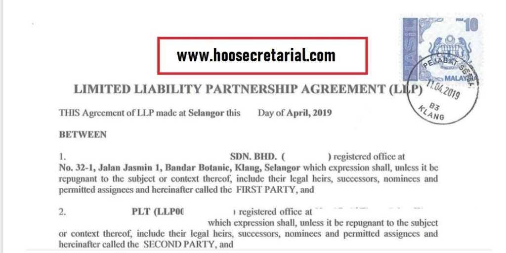LLP Partnership Agreement Stamped