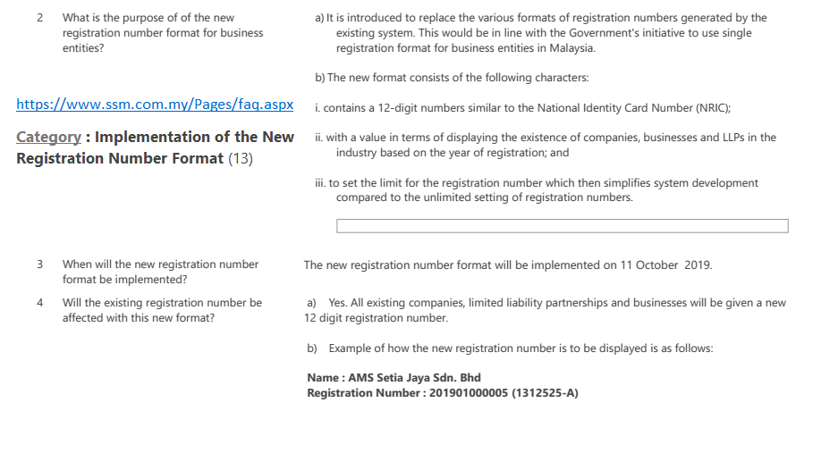 Purpose of New format of registration number