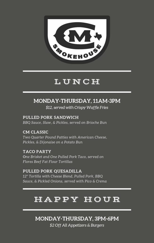 CM Smokehouse lunch + happy hour1