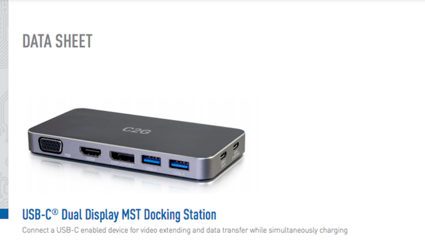 USB-C® Dual Display MST Docking Station