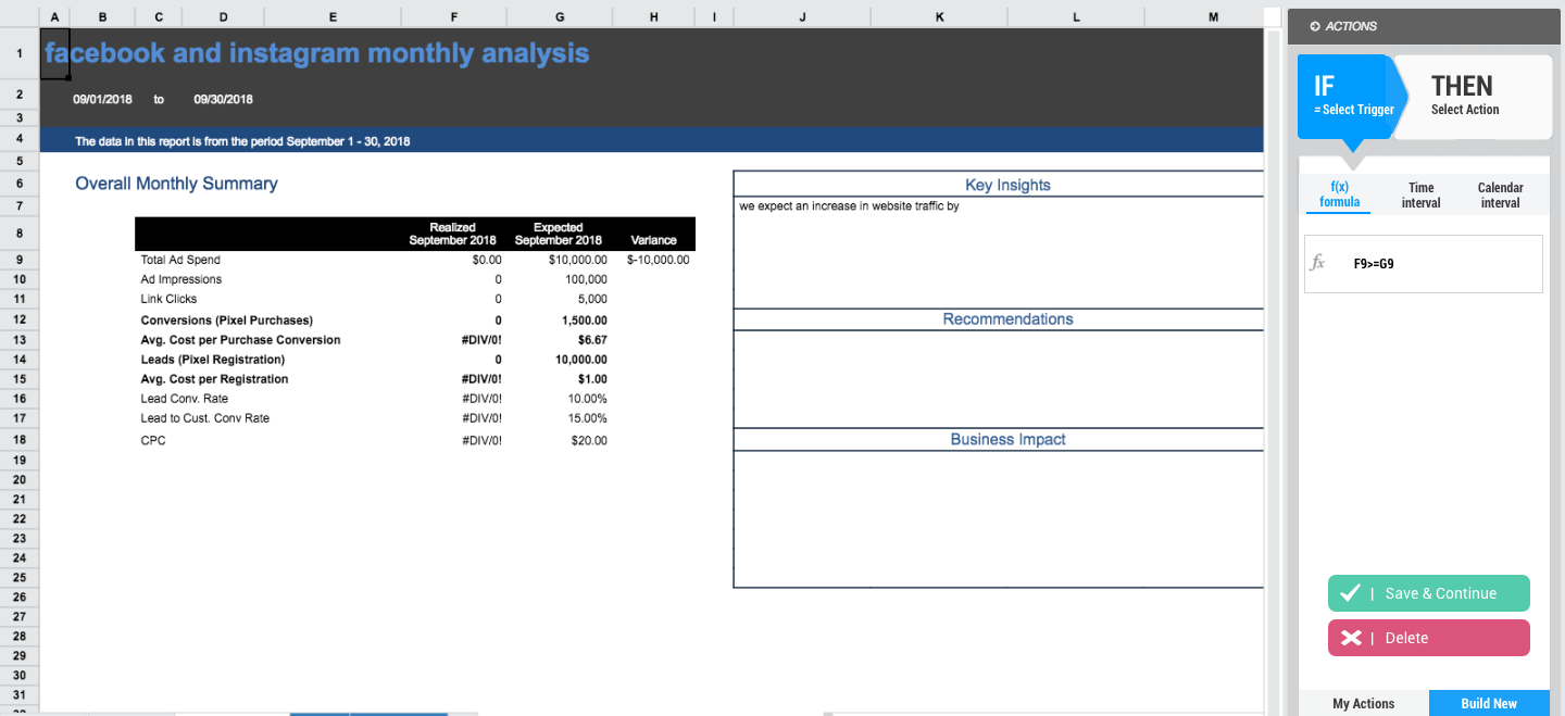 Spreadsheet SMS action