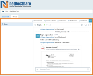 netDocShare helps to Add/Edit/Participate in NetDocuments ndThread Conversations