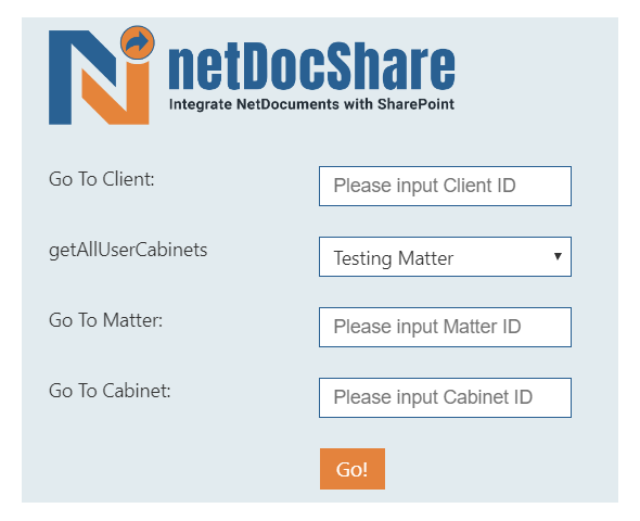 Simply input Cabinet ID, Client ID or Matter ID in netDocShare and view related NetDocuments