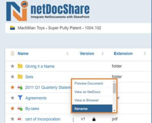 netDocShare enables to rename any document within NetDocuments from SharePoint