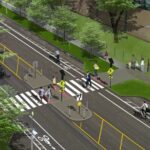 Rendering of Chicago Avenue pedestrian refuge island