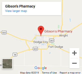 Gibson's Pharmacy Dodge City Kanasas Map