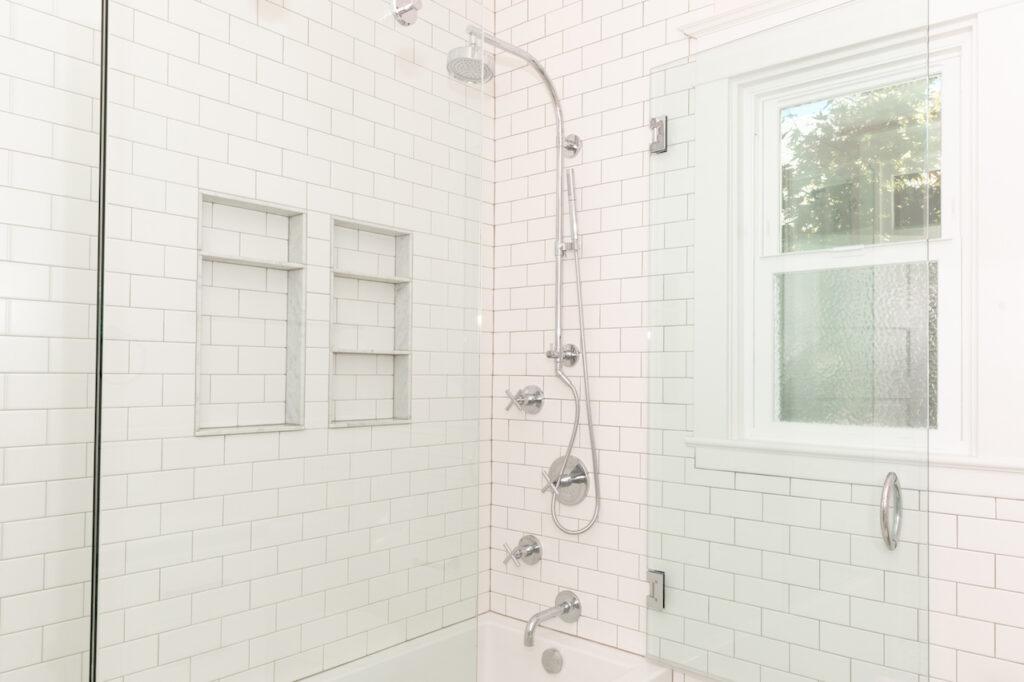 NE Portland bathroom Remodel shower handles and niches