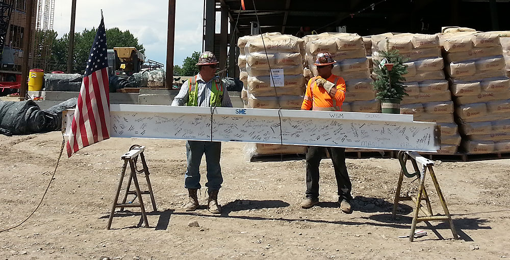 Signed beam for topping out