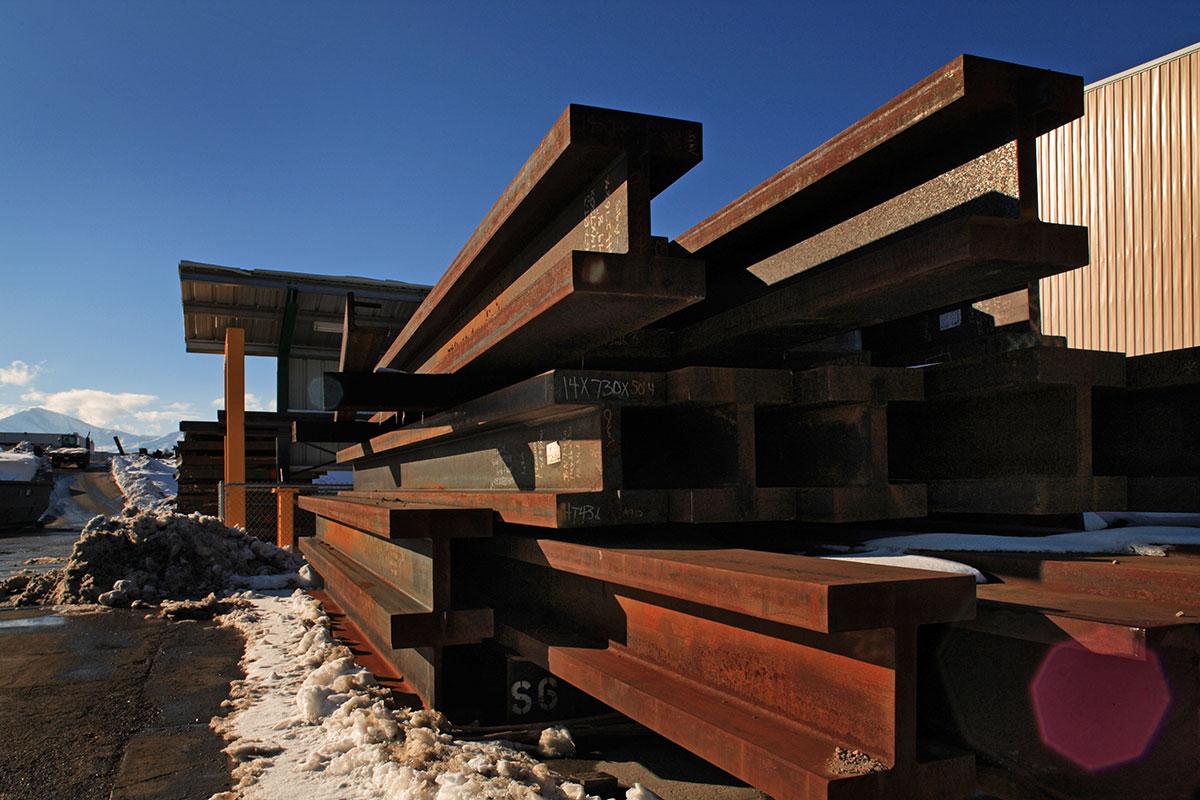 stack of steel beams