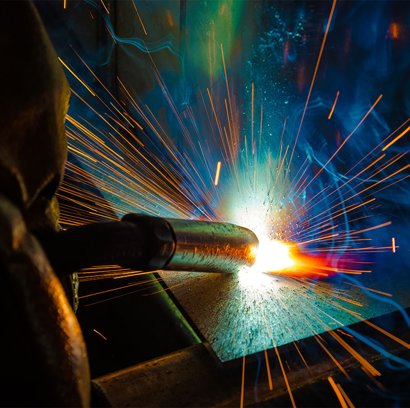 welding torch with sparks