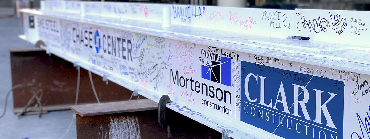 Chase Center Topping Out signed beam