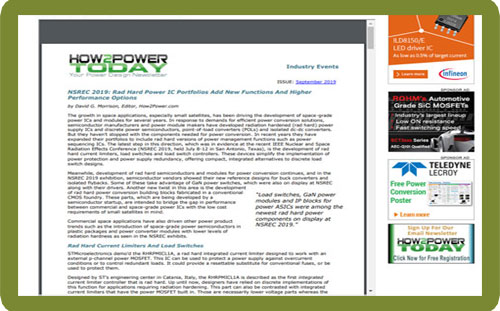 How2Power – Kit Speeds Design Of Rad Hard Power ICs And Other Mixed-Signal Chips
