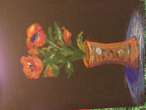 Chalk Vase with Flowers