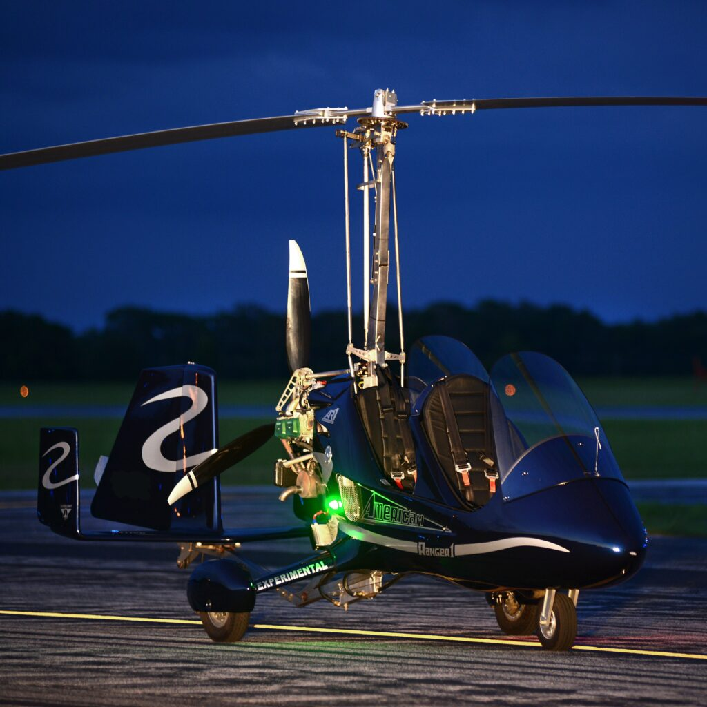 Blue AR1 gyroplane lights