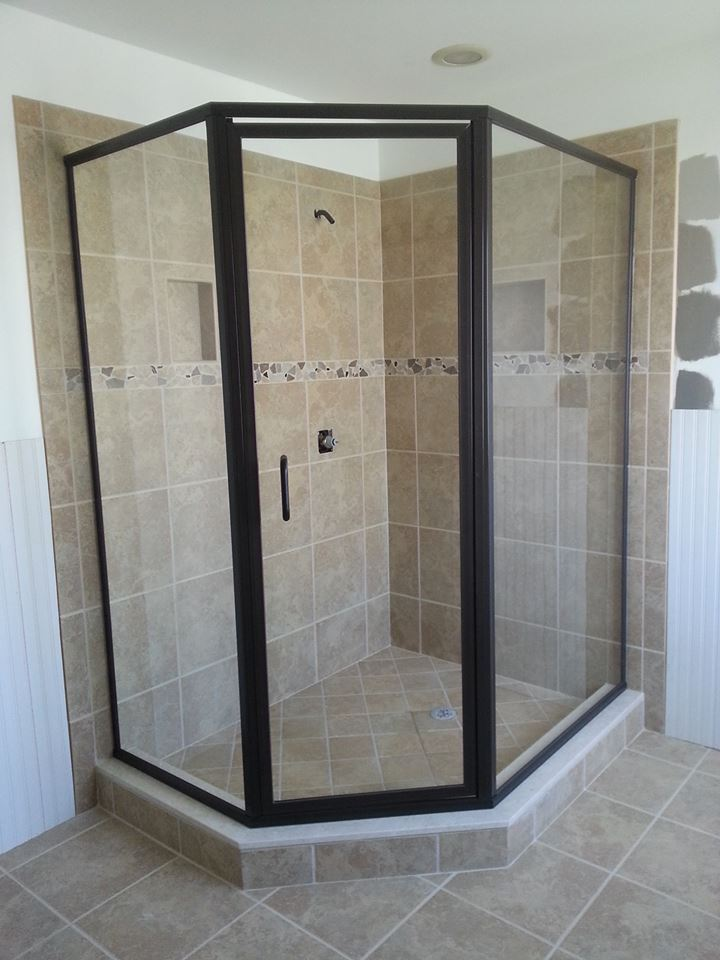 Framed Neo-Angle Shower Door Glass Enclosure