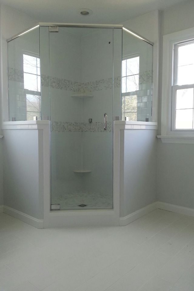 Custom Frameless Neo-Angle with Header, Gallery of Shower Doors
