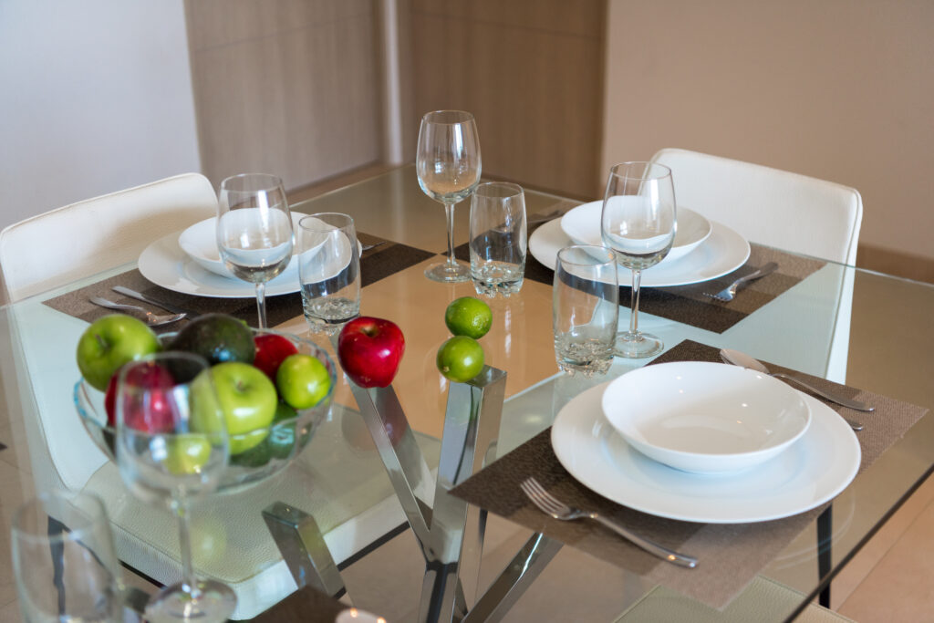 heat resistant glass table top