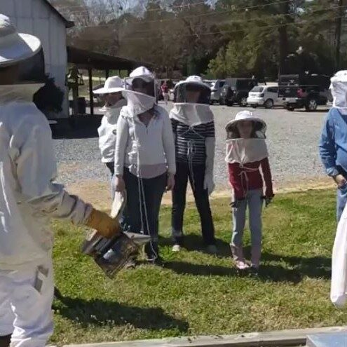 Group of Beekeepers receiving instruction