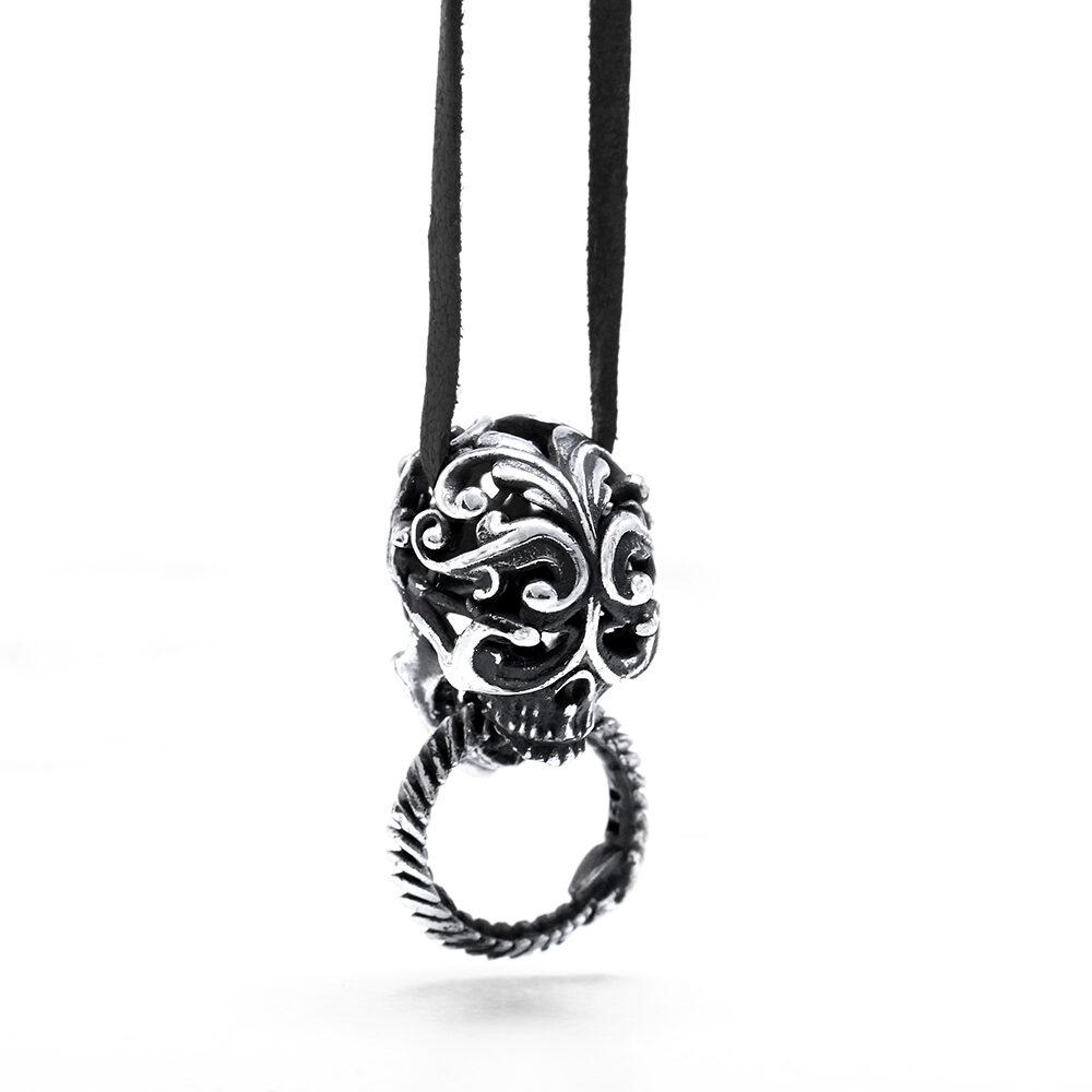 Ether11 Silver Filigree Skull with Ouroboros Pendant