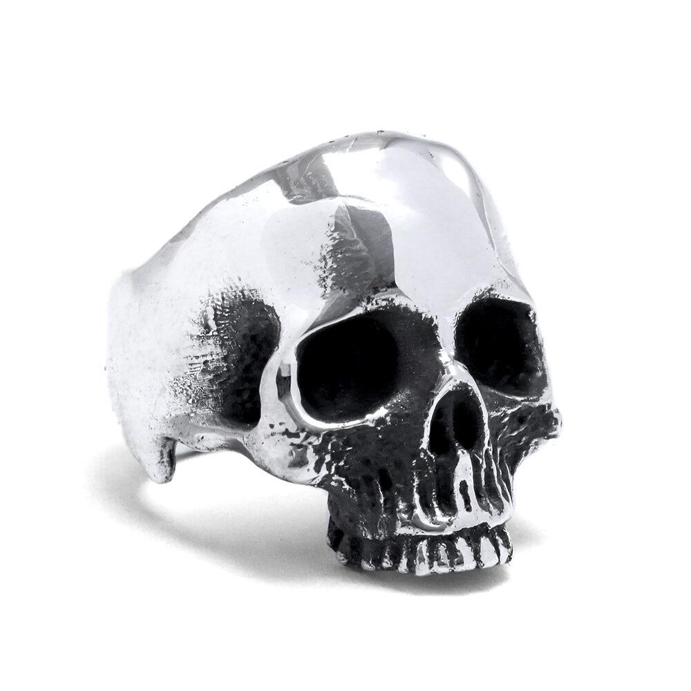 Ether11 Silver Half Skull Ring