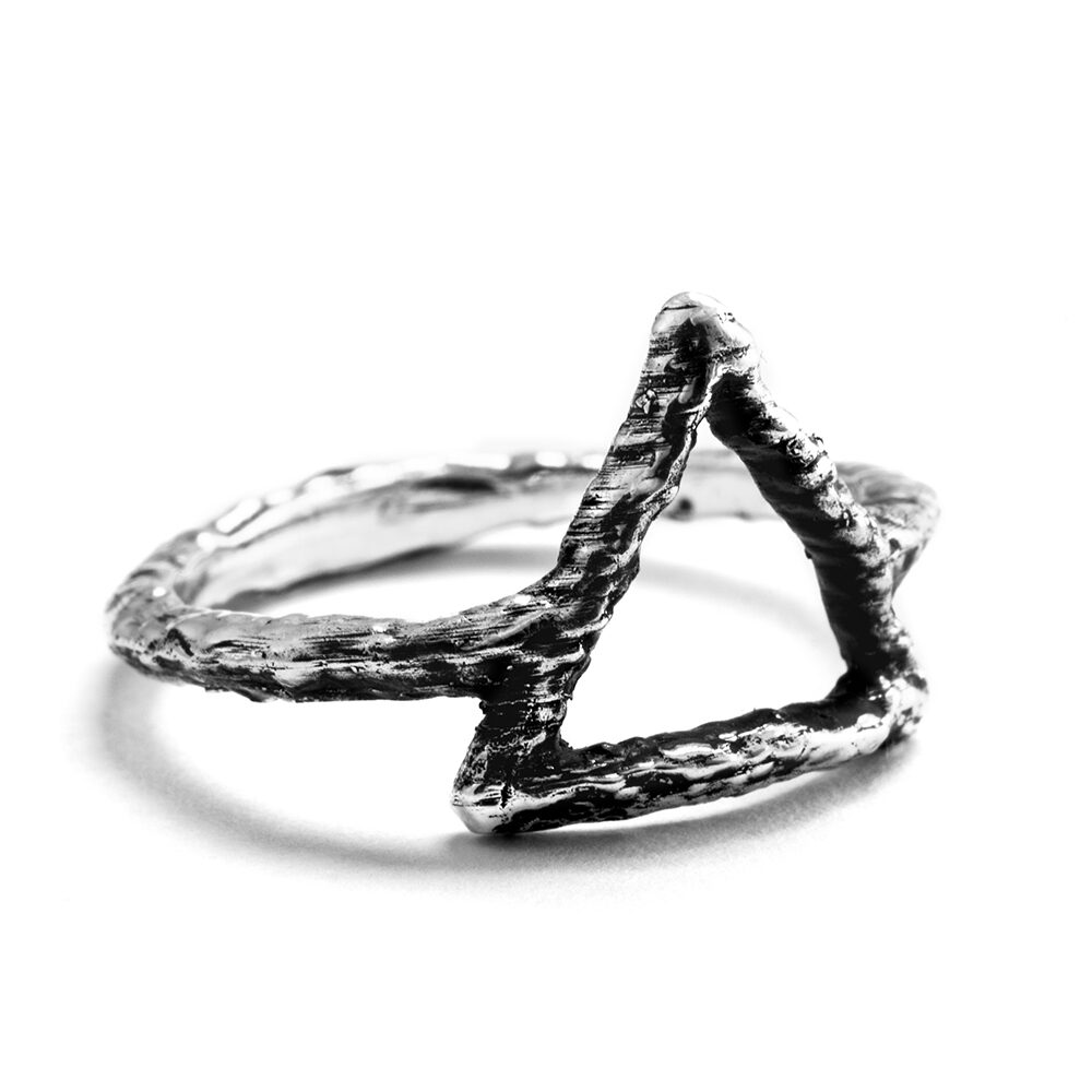 Ether Eleven Sterling Silver Fire Symbol Alchemy Textured Ring