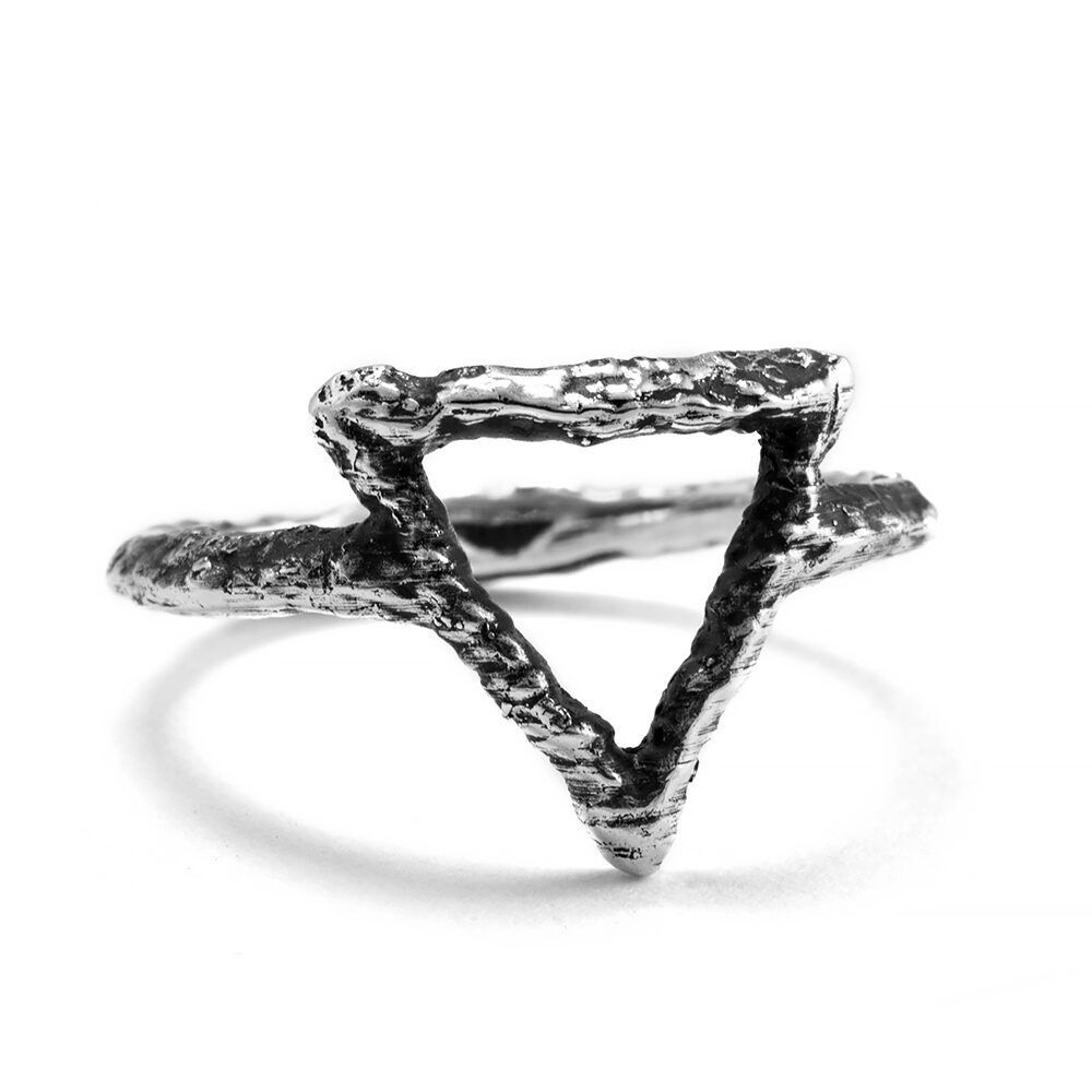 Ether Eleven Sterling Silver Water Symbol Alchemy Textured Ring